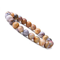 Natural 8mm Crazy Lace Agate Healing Crystal Stretch Beaded Bracelet Unisex