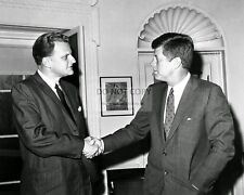 PRESIDENT JOHN F. KENNEDY WITH BILLY GRAHAM - 8X10 PHOTO (AZ429)