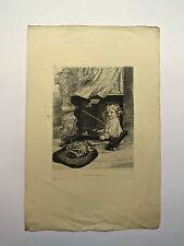 Eau-Forte, Bébé dans le chevalet, E. De Liphart, XIXème