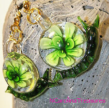 GLASS CEILING FAN CHAIN LIGHT SWITCH PULLS GREEN SNAIL FLORAL BURST LARGE PAIR