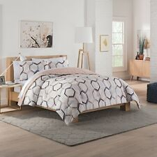 Gray Hexagonal Reversible Comforter Set - Vue Full/Queen