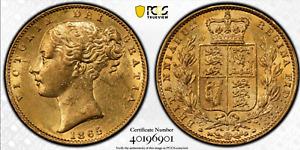 1865 Gold Sovereign PCGS AU58 Victoria Shield Great Britain Die 5