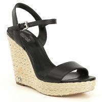 $110 size 10 Michael Kors Jill Espadrille Black Leather Wedge Platform Sandals