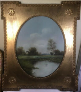Wood Gold Gilded Oval Frame Pastel Country Landscape Painting Late 1800s SIGNED