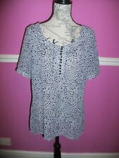 MONSOON  BLUE WHITE SPOTTED TOP 14 short sleeves. classic fit