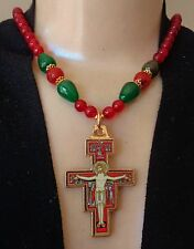 Vintage Necklace Byzantine Monastery Icon Cross Pendant Red & Green Agate Beads