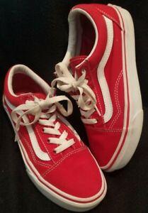 Vans Old Skool MEN Size US 5.5 WOMEN sz 7 RED WHITE Classic Skater Shoes unisex