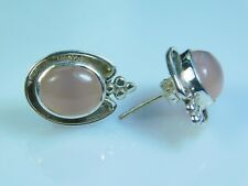 Ear Studs 925 Solid Sterling Silver, Pink Chalcedony Retro Silver Stud Earrings