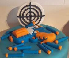 Handmade Edible Unofficial Nerf style gun bullet cake topper decoration set