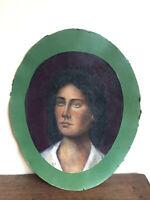 tableau ancien huile sur papier épais C D  (XIXe-s) portrait