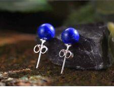 UK 925 Sterling Silver Blue Lapis Lazuli Stud Earrings Jewelry Natural Handmade