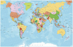 Detailed political world map with capitals, rivers and lakes Poster choose sizes