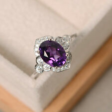1.80 Ct Natural Diamond Oval Cut Amethyst Ring 14K Solid White Gold Size M N O P