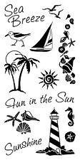 Inkadinkado Clear Stamps - Coastal, Seaside, Sea, Lighthouse, Shells, Sunshine