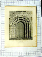 Original Old Antique Print 1818 Iffley Church Oxfordshire Sands Britton 19th