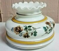 Vintage Milk Glass Painted Floral Fluted Ruffled Lamp Replacement Shade 7.5""