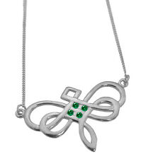 Emerald Dragonfly Celtic Infinty Knot Charm Sterling Silver 925 Necklace 18 inch