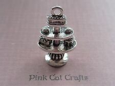 5 x CAKE STAND AFTERNOON TEA ALICE TEA PARTY 3D Tibetan Silver Charms Pendants