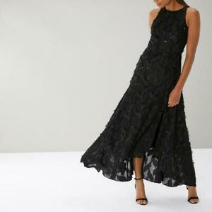 Coast - Carrie-Lou Textured Maxi Dress - Black - Size 12 (Brand New With Tags)