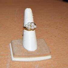 Gorgeous 10K Gold, Diamond and Pearl Cluster Ring size 6