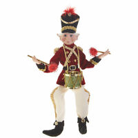 "RAZ Imports Posable Elf 16"" Drummer Boy Elves Christmas Decoration Drum Ornament"