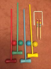 Brand New Family Wooden Croquet Set 4 Mallets, 4 Balls, 10 Hoops, 2 Pegs