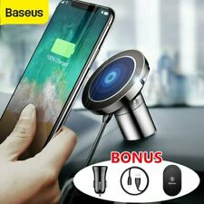 Baseus Qi Wireless Car Charger Magnetic Phone Holder Mount For iPhone 11 Samsung