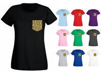 Womens Leopard Animal Pocket Shaped Print Printed T-shirt NEW UK 6-18