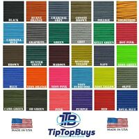 550 Paracord Solid Color Type III 7 strand cord 10,25,50,100 & 100, 300ft Spools