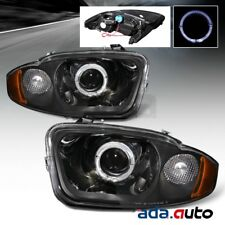 2003-2005 Chevy Cavalier [LED Halo] Projector Black Headlights Headlamps Set