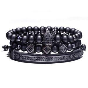 3Pcs/Set Luxury Hip Hop CZ Crown Elastic Bracelet For Men Matte Onyx Stone Beads