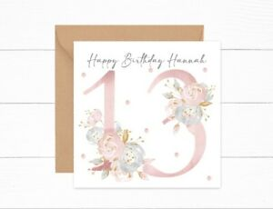 Personalised Birthday Card 13th Birthday Girls Floral Daughter Granddaughter