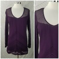 Cachr size XL Pullover Tunic Sweater Top open knit cover up purple stretch