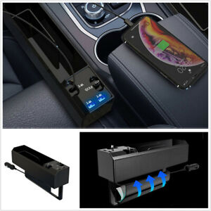 ABS Storage Box IOS/Type C Dual USB Organizer Fit For Car Left Right Seat Gap