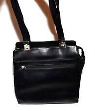 Liz Clairborne Black Faux Leather Multi Pocket 2 Straps 3 Sectional Shoulder Bag