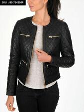 New Women's Black Quilted Slim Fit Biker Style Moto 100% Lambskin Leather Jacket