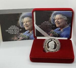 2002 The Royal Mint Her Queen Memorial Crown  £5 Silver Proof Coin with Box COA