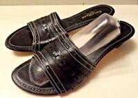 Cole Haan Leather Slide Slip On Block Heel Womens Sandals Shoes Size 9.5B Black