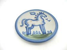 """M.A. Hadley Blue Pottery Plate 6"""" Horse Signed on Back"""