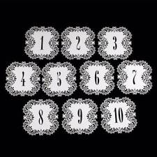 10pcs/set Wedding Birthday Party Decor Table Numbers Cards Numbers 1 To 10 white