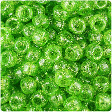 500 Lime Green Sparkle 9x6mm Barrel Pony Beads Made in the Usa by The Beadery