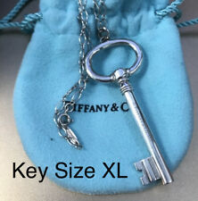 "Tiffany & Co Sterling Silver XL Large Oval Key 2.5"" Pendant Link Chain Necklace"