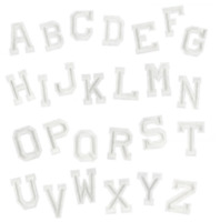 White A-Z Alphabet Letter Iron on Patches Embroidery Patch Letters Clothes Names