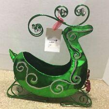 Green Metal Reindeer Sleigh Wine Bottle Holder
