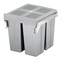 FittingsCo 68 Litre Kitchen Waste Bin 3 Compartments To Fit Cabinet Width 500mm