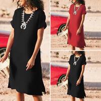 VONDA Womens Loose Short Sleeve Solid Vintage Casual Plain Dresses Shirt Dress