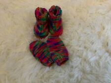 Baby bootees and mitts hand knitted multi coloured size newborn
