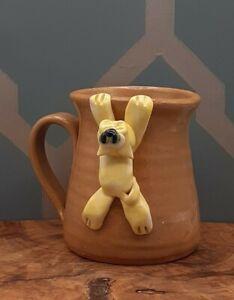 Vintage Pretty Ugly Pottery Wales 3D Cat Welsh Tea Coffee Mug Handmade Stoneware
