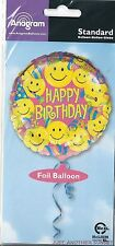 "Happy Birthday 18"" Mylar Foil Balloon Pink Smiley Face Faces Retro Fun 60's NEW"