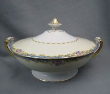 Hinode China COVERED VEGETABLE DISH Blue Band Pink Floral Gold Trim White Ivory
